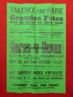 VALENCE SUR BAISE AFFICHE HIPPODROME DE FLARAN COURSE DE CHEVAUX 1966 TIMBRE A CAZAUBON CAFE DUBEDAT 60 X 39.5 - Affiches