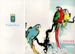 MENU CROISIERE CLIPPER LINE Stella Polaris  MALMO Suede Sweden PERROQUETS  PARROTS  Aout 1959 - Menus