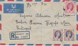 Cover - 1956 - Rhodesia & Nyasaland »» Portugal // Registered - Rhodesia & Nyasaland (1954-1963)