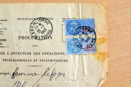 Procuration PTT - Timbres Fiscaux - RONFEUGERAI (Orne -61) (CL 539) - Fiscaux