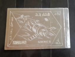 GS22 - Sharjah 1972 Mi. 1059B MNH IMPERF Stamp, SILVER FOIL Space Exploration & Achievement - Sharjah