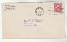 1919 East Orange Nj USA Stamps COVER Pmk Newark - United States
