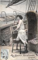 [DC3278] CPA - DONNA SULLA NAVE - IN POSIZIONE AMBIGUA - Viaggiata 1905 - Old Postcard - Femmes
