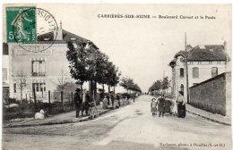 CARRIERESSUR SEINE - Boulevard Carnot Et La Poste - Café, Billard Hotel Du Moulin  (90875) - Carrières-sur-Seine