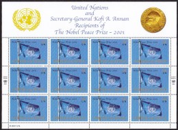UN - United Nations New York 2001 MNH Nobel Peace Prize Souvenirsheet In Folder W/Kofi Annan Print - New-York - Siège De L'ONU