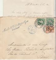 """EAV N° 28 +30 X 2 O. Bruxelles 1882, Griffe """"Ministre De L´Education Publique""""-> Paris (2 Scans) - 1869-1883 Leopold II"""