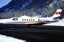 DIAPOSITIVA SLIDE   AEROPLANO  CESSNA CITATION S 550  -ZIMEX AVIATION HB-VKA St.Moritz 1991 - Diapositives