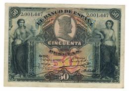 Spain 50 Ptas. 1907. F/VF. Rare. Free Ship. To USA - [ 1] …-1931 : First Banknotes (Banco De España)