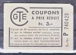 CARNET DE TIQUETS - CGTE - EN L'ETAT - V/IMAGE - Tramways