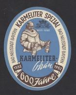 Etiquette De Bière 1952  -  Karmeliter Brau  -  Bad Neustadt Bayern  Allemagne - Bière