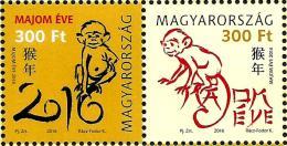 Hungary - 2016 - Chinese Zodiac - Year Of The Monkey - Mint Stamp Set - Ungarn