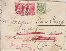 EAC N°74 Paire + 83 O. Ixelles 1911 -> Québec Canada Réexpédiée à Montréal (2 Scans) - 1905 Thick Beard