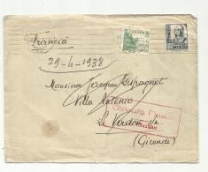 Guerre D'ESPAGNE  . Lettre Pour La France .Censure De San Sébastian . 29 041938 - 1931-50 Briefe U. Dokumente