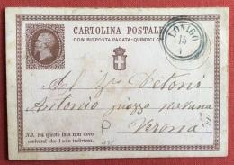 LONIGO Annullo LOMBARDO VENETO  SU INTERO POSTALE  C.R.P. N. 1 IN DATA 15/4/75 - Interi Postali