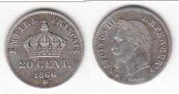 **** 20 CENTIMES 1866 BB STRASBOURG NAPOLEON III TETE LAUREE - PETIT MODULE - ARGENT  **** EN ACHAT IMMEDIAT !!! - E. 20 Centimes