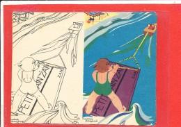 PUBLICITE REGLISSE ZAN Cpa Animée ENFANT SKI NAUTIQUE  Illustrateur André Dagand - Dessins D'enfants