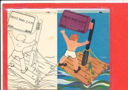 PUBLICITE REGLISSE ZAN Cpa Animée ENFANT BATEAU RADEAU Illustrateur André Dagand - Dessins D'enfants