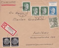 ALLEMAGNE  LETTRE RECOMMANDEE SANS CACHET ARRIVEE DE PABIANICE 1943 - Deutschland