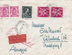 Paire Du 685 A; Paire713 Et N° 696 LeopoldIII / Lettre En EXPRES Vers L'ALLLEMAGNE - 1936-1957 Col Ouvert