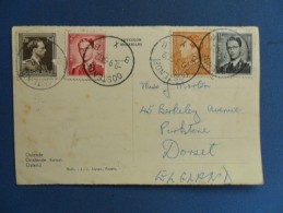 Back Of A Postcard With 4 Belgium Stamps On It Posted, K43. - Belgium