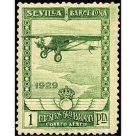 ES452STV-LFT***452STESAE.Spain.Esgane.AVION,AEREO.PRO EXPOSICION SEVILLA BARCELONA.1929 (Ed 452**) - Nuevos & Fijasellos