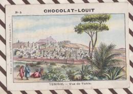 6AI3700 CHROMO CHOCOLAT LOUIT TUNISIE VUE DE TUNIS PLIURE  2 SCANS - Louit
