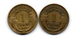 2 Belles Piéces De 1 Franc 1932 (2 Ouvert- Et- 2 Fermé Plus Rare ) - Variétés Et Curiosités