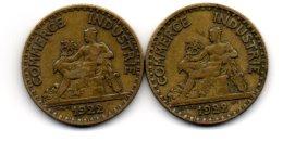 2 Belles Piéces De  2 Franc 1922  (2 Ouvert- Et- 2 Fermé Plus Rare ) - Variétés Et Curiosités