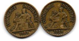 2 Belles Piéces De  2 Franc 1922  ( 1.2 Ouvert Et   1. 2 Fermé Plus Rare ) - Variétés Et Curiosités