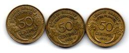 3 Belles Piéces De 50 Centimes    1931..les 3 Variétés.... - Variétés Et Curiosités