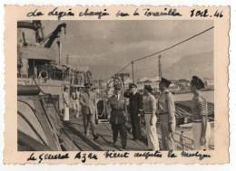 Photo Originale Amiral Battet Indochine Légion Etrangère Sur Le Tourville 1/10/1946 à SAIGON Général Paul Azan - Boats