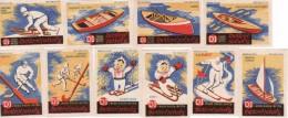 Slovaquie Boites D´allumettes-etiquettes Labels, Sport Ski Hockey Kanoe Aviron Traîneau,Fabricant Smrečina Ban. Bys - Luciferdozen - Etiketten