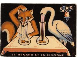 """Carte En Feutrine De L'illustration De La Fable De La Fontaine """"le Renard Et La Cigogne  CPSM - Voyagé - Cartes Postales"""