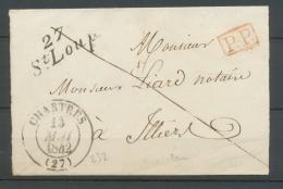 1842 Lettre Cursive 27 St Loup + CAD T13 CHARTRES EURE-ET-LOIRE(27) X2389 - Marcophilie (Lettres)