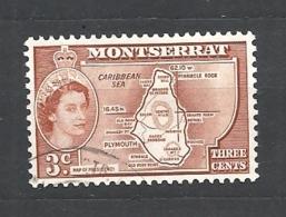 MONSERRAT    1953 -1957 Queen Elizabeth II, Local Motifs  132 USED MONSERRAT MAP - Montserrat
