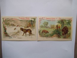 2 CHROMOS CHASSEURS & GIBIERS  CHASSE AU LOUP ( RUSSIE) ET CHASSE AU SANGLIER (ALLEMAGNE) TISANE DES PERES CELESTINS - Other