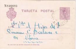 19280. Entero Postal SAN SEBASTIAN  1924. Alfonso XIII Medallon, Fechador ESTACION