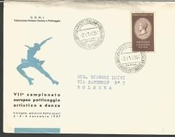 RIF15---   ITALIA REPUBBLICA ,  ANNULLI FILATELICI,      VII°   CAMPIONATO EUROPEO PATTINAGGIO ARTISTICO E DANZA,   1957 - Hockey (su Erba)