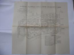 PLANIMETRIA DELL'OSPEDALE CIVICO E CLINICHE UNIVERSITARIE IN TORINO 1927. - Travaux Publics