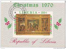 0540 Liberia 1970 Andrea Mantegna Trittico ADORAZIONE DEI MAGI Natale - Religione