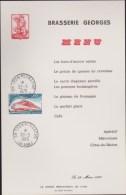MENU BRASSERIE GEORGES A LYON DU 23 MARS 1975 AVEC OBLITERATION ETTIMBRE TGV DE MEME DATE - Menus
