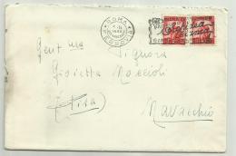 Francobolli N.2 Da Lire 10  Su Busta Con Manoscritto  Timbro 1950 - 1946-.. République