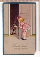 DACHSHUND RETRIVES MAIL Vintage HWB PC 1924. - Chiens