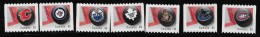 CANADA, 2013, #2662ii-8ii, NHL TEAM LOGO  COIL STAMPS - 7 CANADIAN TEAMS   SINGLE - Roulettes