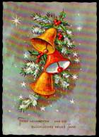 6554 - Alte Glückwunschkarte - Weihnachten - Glocken - Krüger - Gel 1965 - Non Classificati