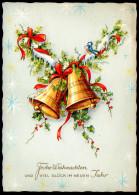 6555 - Alte Glückwunschkarte - Weihnachten - Glocken - Krüger - Gel - Non Classificati