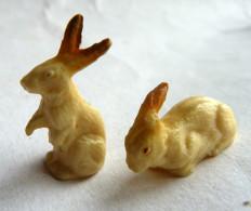 FIGURINE CLAIRET  - ANIMAUX ANIMAL DE LA FERME - LAPIN 2 Lapins Dont 1 1 Oreille Cassée Pas Starlux - Figurines