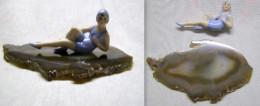 Superbe Statuette Porcelaine Et Agate En Tres Bon Etat. - Autres