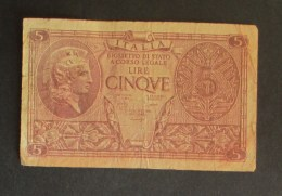 Italia 5 Lire 1944 Biglietto Di Stato - [ 1] …-1946 : Kingdom