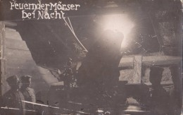 Foto Deutsche Soldaten 1.Weltkrieg Feuernder Mörser Bei Nacht Minenwerfer Schützengraben Stellung - Guerra, Militares